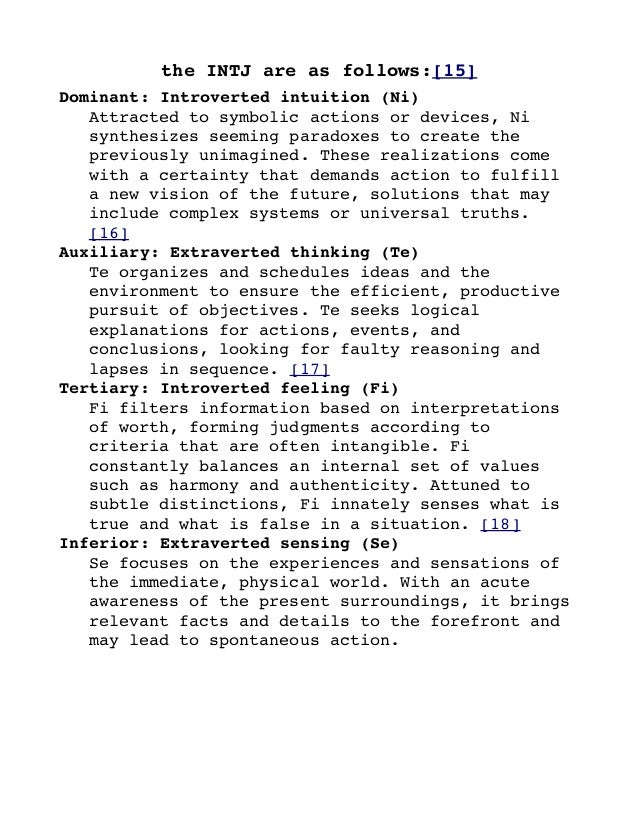 Intj Definition Of Personality Equals