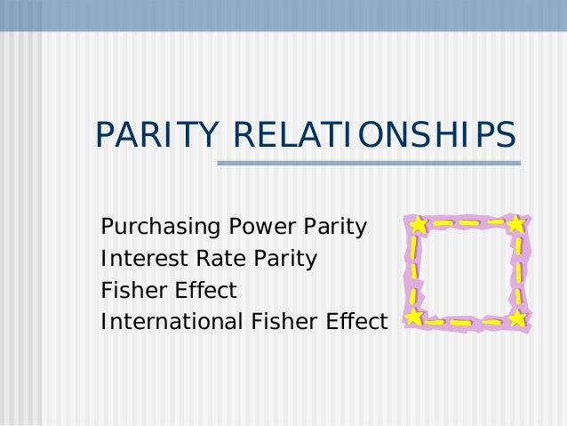 PARITY RELATIONSHIPS Purchasing Power Parity Interest Rate Parity Fisher Effect International Fisher Effect
