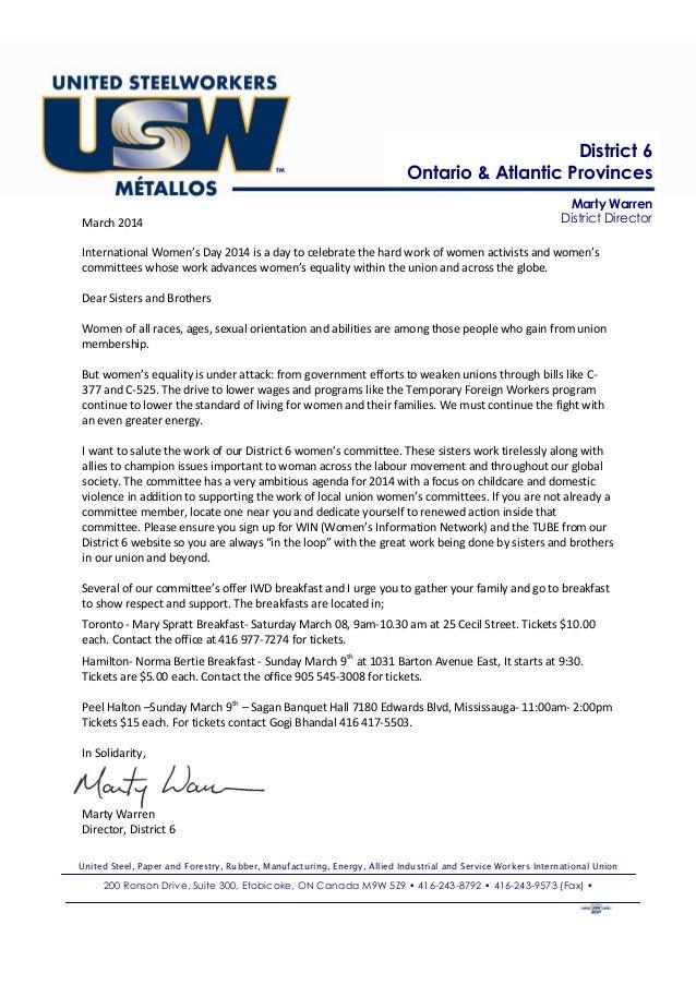 District 6 Ontario & Atlantic Provinces March 2014  Marty Warren District Director  International Women's Day 2014 is a da...