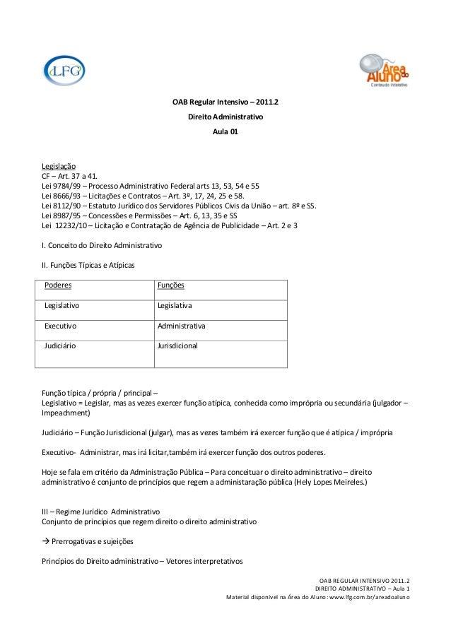 OAB Regular Intensivo – 2011.2                                              Direito Administrativo                        ...