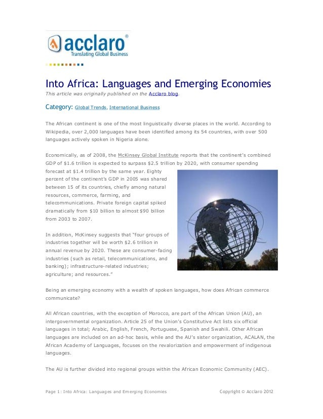Into Africa: Languages and Emerging EconomiesThis article was originally published on the Acclaro blog.Category:    Global...