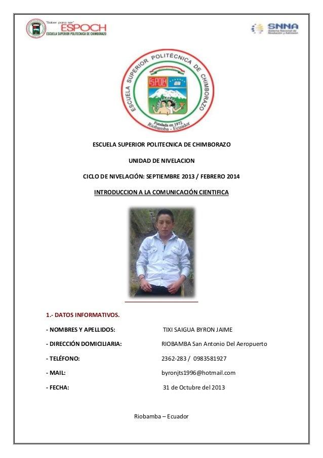 ESCUELA SUPERIOR POLITECNICA DE CHIMBORAZO UNIDAD DE NIVELACION CICLO DE NIVELACIÓN: SEPTIEMBRE 2013 / FEBRERO 2014 INTROD...