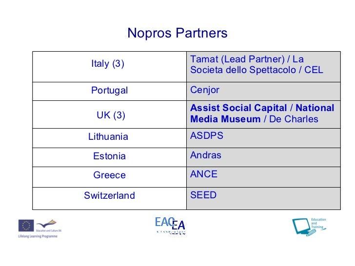 Nopros Partners Italy (3)   Tamat (Lead Partner) /  La Societa dello Spettacolo / CEL Portugal Cenjor UK (3) Assist Social...