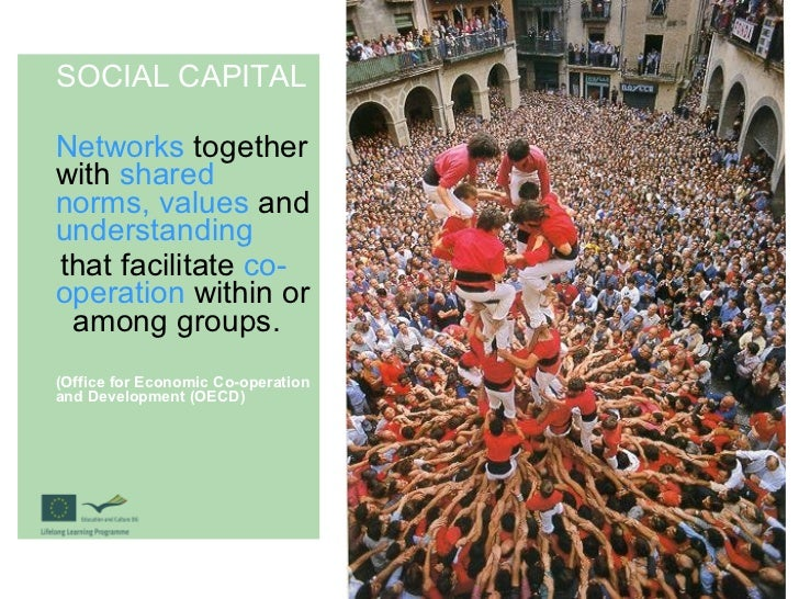 SOCIAL CAPITAL Networks  together with  shared norms, values  and  understanding that facilitate  co-operation  within or ...