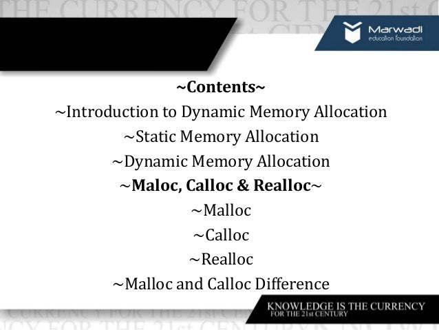 Intoduction to dynamic memory allocation