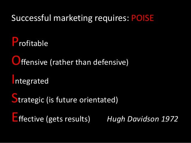 Successful marketing requires: POISE Profitable Offensive (rather than defensive) Integrated Strategic (is future orientat...