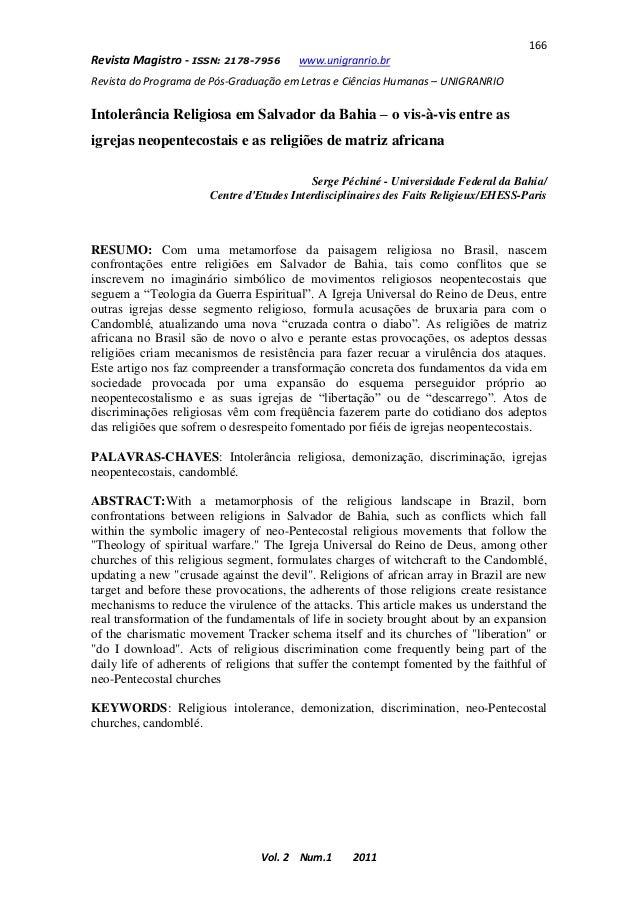 166Revista Magistro - ISSN: 2178-7956      www.unigranrio.brRevista do Programa de Pós-Graduação em Letras e Ciências Huma...