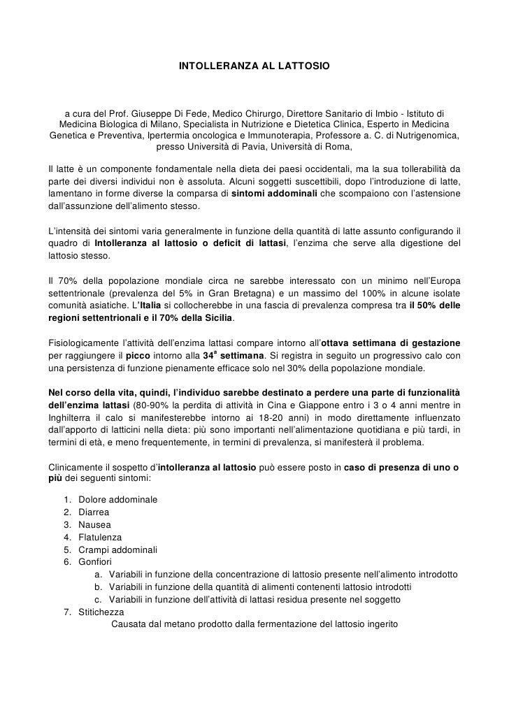 INTOLLERANZA AL LATTOSIO   a cura del Prof. Giuseppe Di Fede, Medico Chirurgo, Direttore Sanitario di Imbio - Istituto di ...