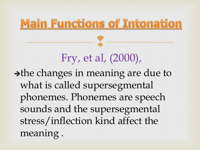  5. Sociolinguistic function Intonation gives the clue a. where somebody comes from b. his social level c. sex, age, pers...