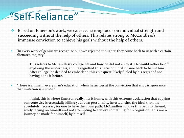 "self reliance essay essay on self reliance by emerson essay the  self reliance essay oglasi cointo the wild emerson powerpoint ""self reliance""a¯ a"
