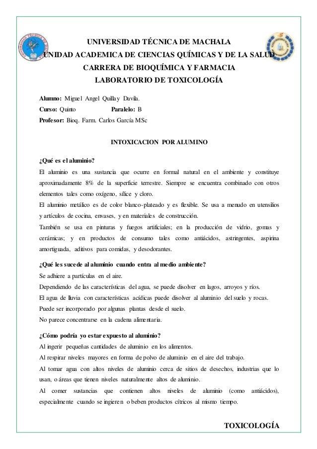 TOXICOLOGÍA UNIVERSIDAD TÉCNICA DE MACHALA UNIDAD ACADEMICA DE CIENCIAS QUÍMICAS Y DE LA SALUD CARRERA DE BIOQUÍMICA Y FAR...