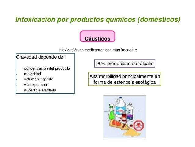 Intoxicación por productos químicos (domésticos) Cáusticos Intoxicación no medicamentosa más frecuente Gravedad depende de...