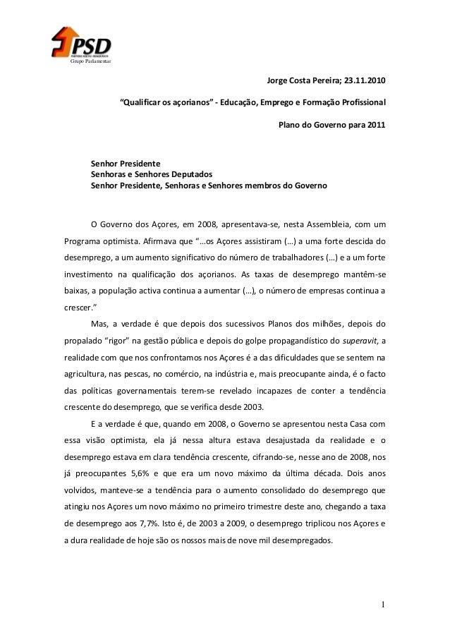 """Grupo Parlamentar  Jorge Costa Pereira; 23.11.2010 """"Qualificar os açorianos"""" - Educação, Emprego e Formação Profissional P..."""