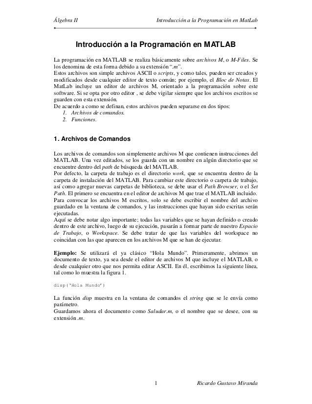 Álgebra II                                   Introducción a la Programación en MatLab         Introducción a la Programaci...
