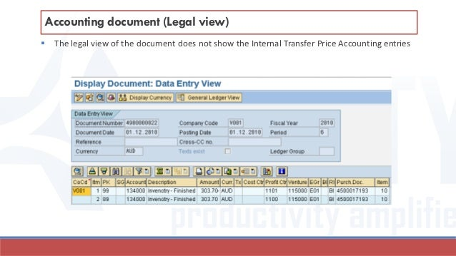  The legal view of the document does not show the Internal Transfer Price Accounting entries Accounting document (Legal v...