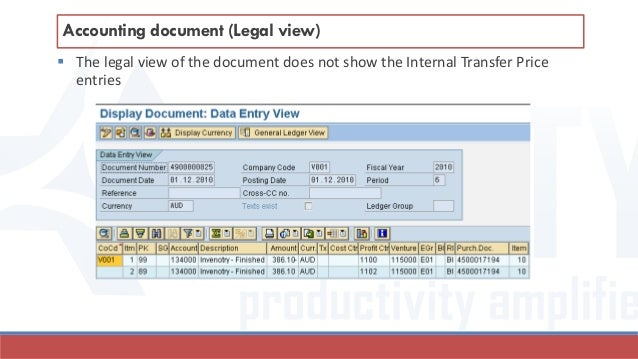  The legal view of the document does not show the Internal Transfer Price entries Accounting document (Legal view)