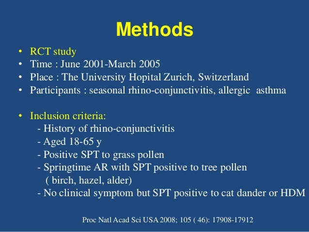 Methods • NPTs - Scoring greater than 4 defined as the maximal tolerated pollen conc - If scoring < 4 with conc of 100,000...