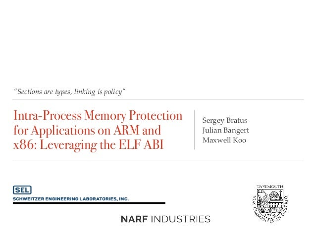 """Sections are types, linking is policy"" Intra-Process Memory Protection for Applications on ARM and x86: Leveraging the EL..."