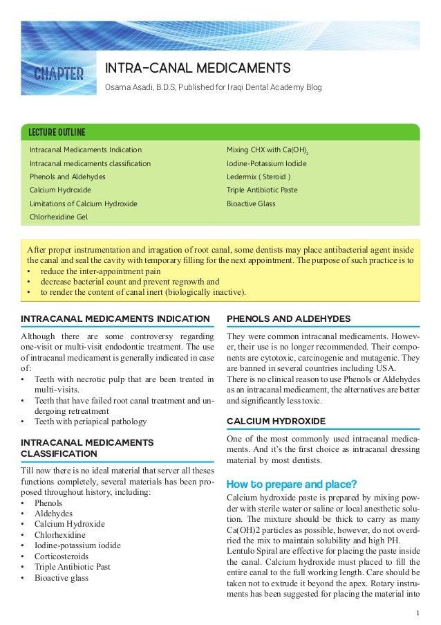 Intracanal Medicaments Indication Intracanal medicaments classification Phenols and Aldehydes Calcium Hydroxide Limitation...