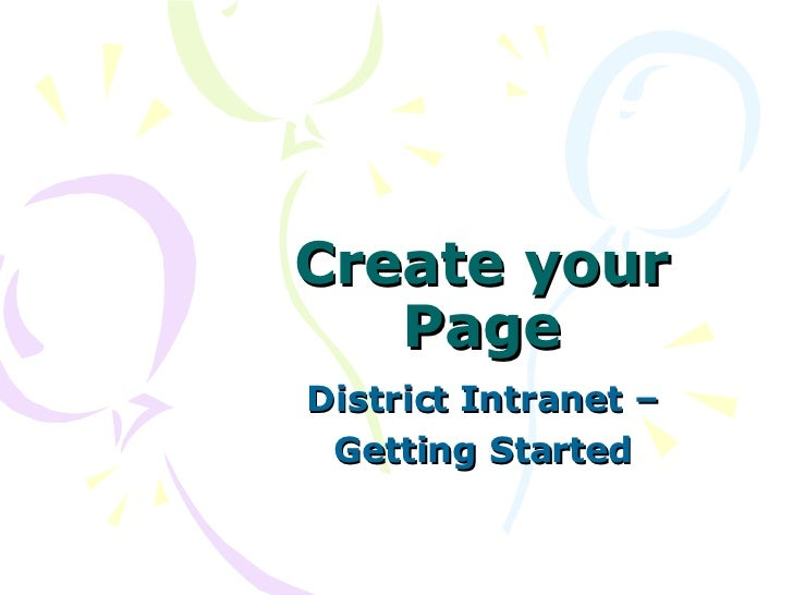 Create your Page District Intranet – Getting Started