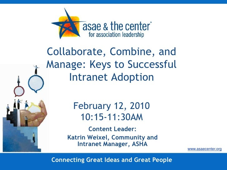 Collaborate, Combine, and Manage: Keys to Successful Intranet AdoptionFebruary 12, 201010:15-11:30AM<br />Content Leader:<...