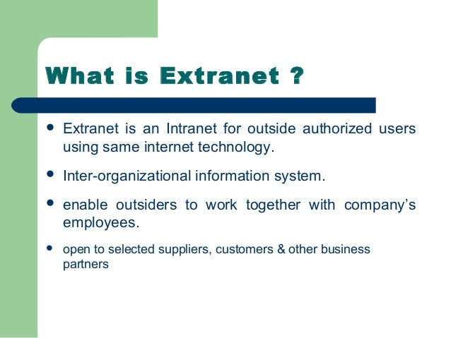 advantages and disadvantages of extranet pdf