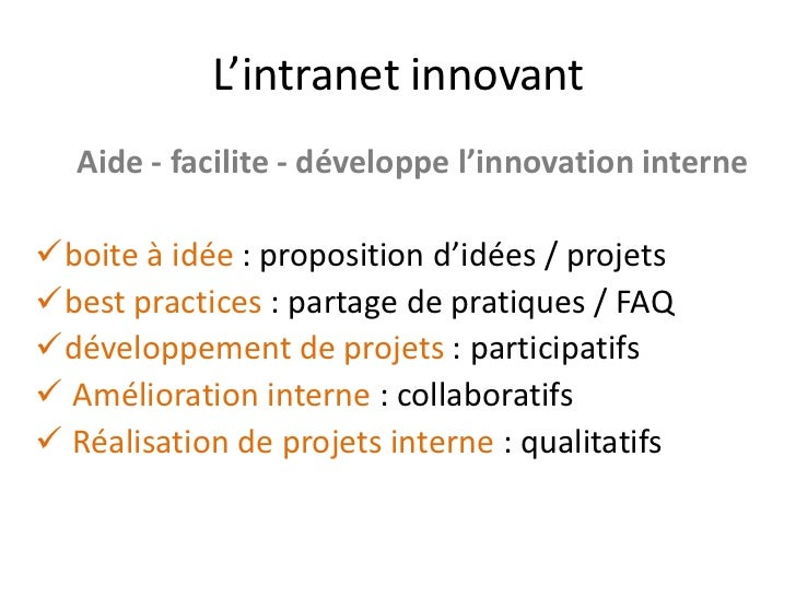 Intranet 2 0 quelques id es for Idee service innovant