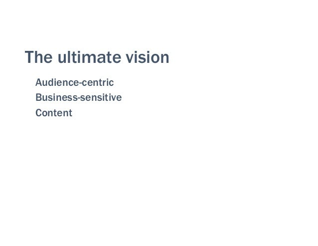 The ultimate vision Audience-centric Business-sensitive Content