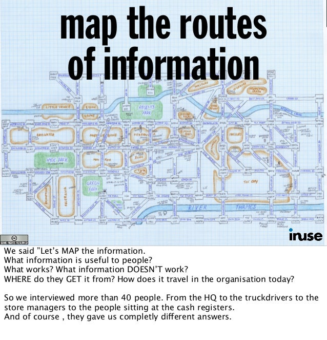 """map the routes of information We said """"Let's MAP the information. What information is useful to people? What works? What i..."""