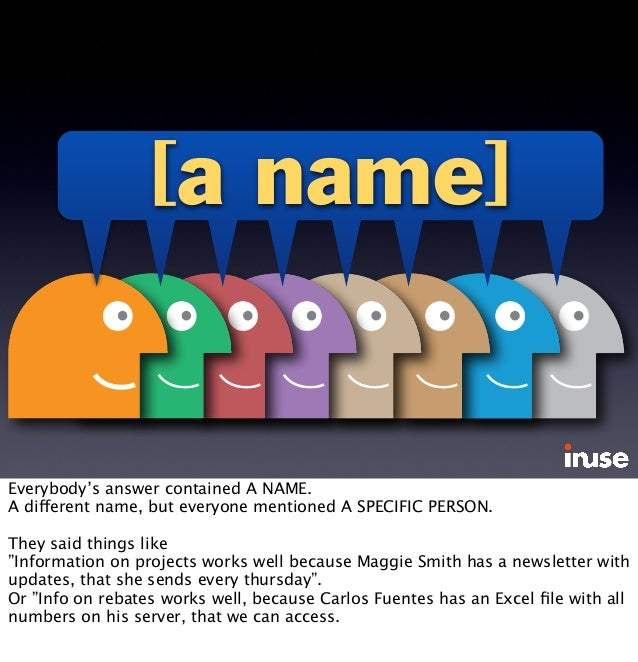 [a name] Everybody's answer contained A NAME. A different name, but everyone mentioned A SPECIFIC PERSON. They said things...