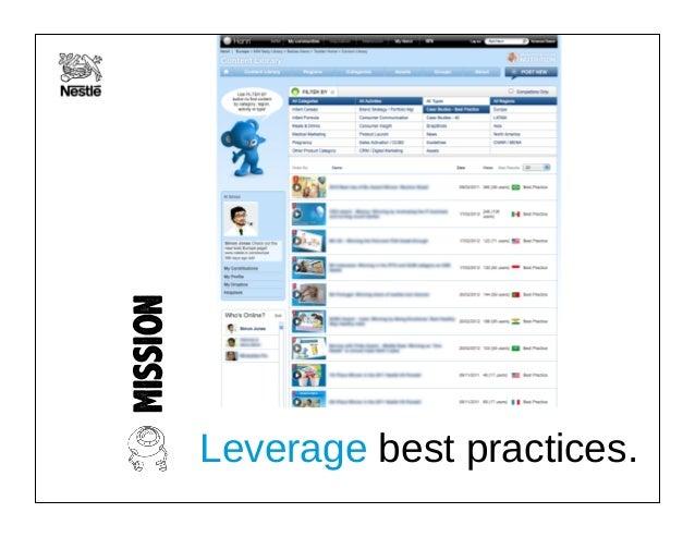 MISSION Leverage best practices.
