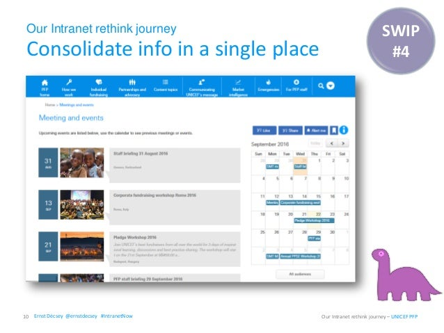Our Intranet rethink journey Consolidate info in a single place 10 Our Intranet rethink journey – UNICEF PFP SWIP #4 Ernst...