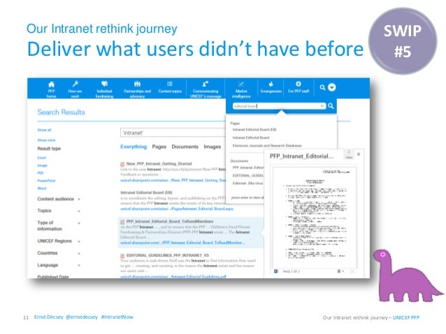 Our Intranet rethink journey Deliver what users didn't have before 11 Our Intranet rethink journey – UNICEF PFP SWIP #5 Er...