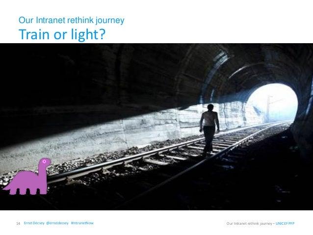 Our Intranet rethink journey Train or light? 14 Our Intranet rethink journey – UNICEF PFPErnst Décsey @ernstdecsey #Intran...
