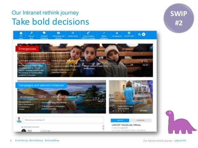 Our Intranet rethink journey Take bold decisions 8 Our Intranet rethink journey – UNICEF PFP SWIP #2 Ernst Décsey @ernstde...