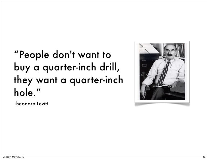 """""""People dont want to          buy a quarter-inch drill,          they want a quarter-inch          hole.""""          Theodor..."""