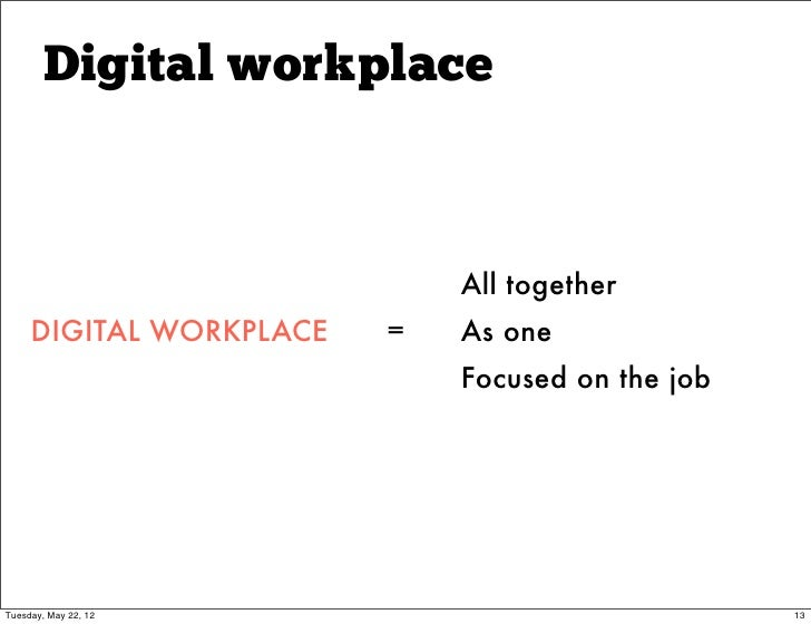 Digital workplace                             All together     DIGITAL WORKPLACE   =   As one                             ...