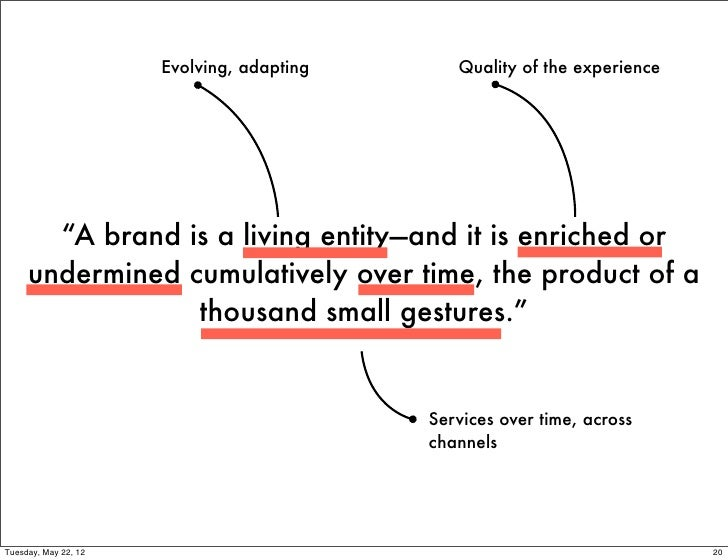 "Evolving, adapting      Quality of the experience       ""A brand is a living entity—and it is enriched or     undermined c..."