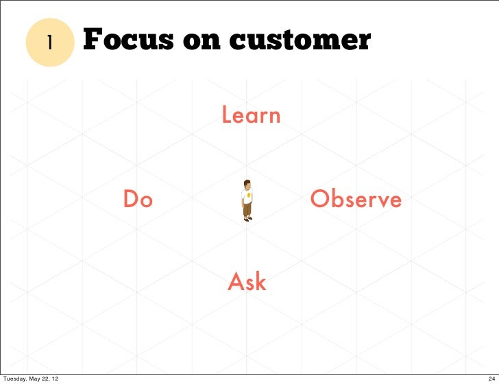 1       Focus on customer                              Learn                        Do            Observe                 ...