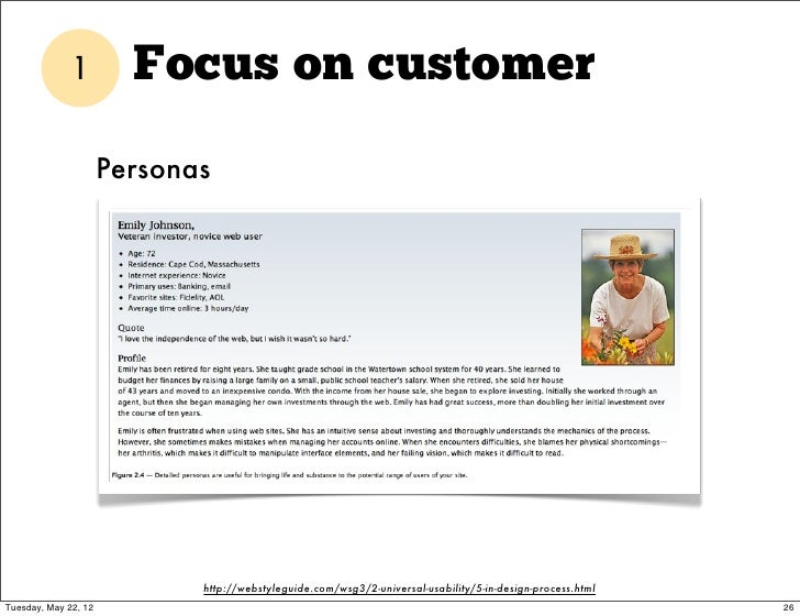 1         Focus on customer                      Personas                             http://webstyleguide.com/wsg3/2-univ...