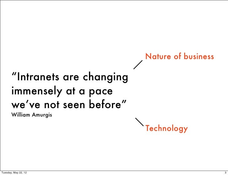 "Nature of business       ""Intranets are changing       immensely at a pace       we've not seen before""       William Amur..."