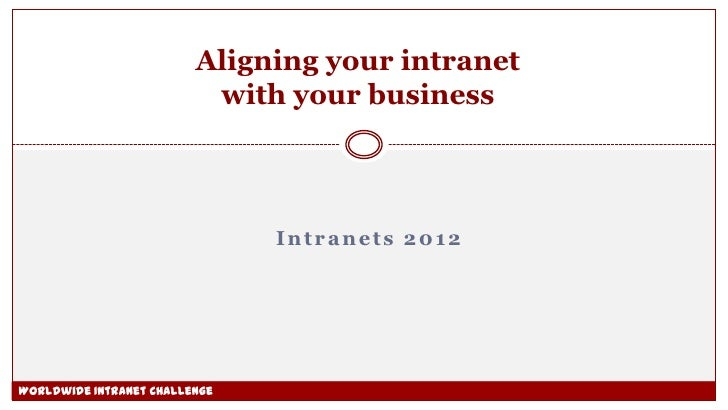 Aligning your intranet                          with your business                               Intranets 2012Worldwide I...