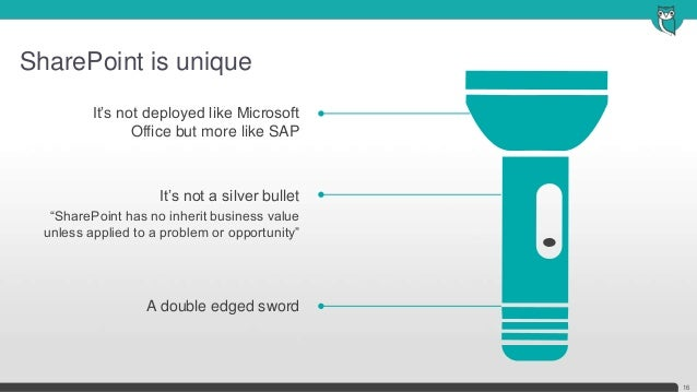 """SharePoint is unique16It's not deployed like MicrosoftOffice but more like SAPIt's not a silver bullet""""SharePoint has no i..."""