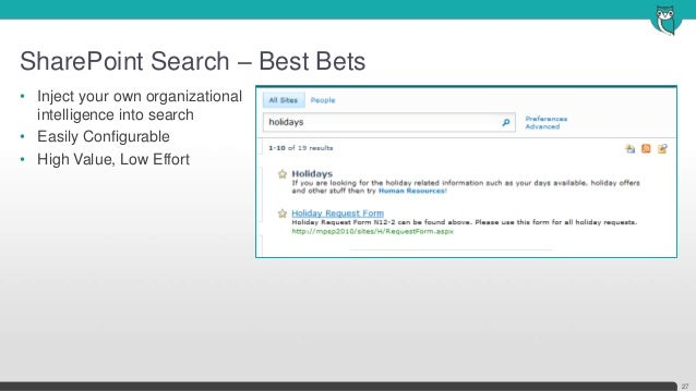SharePoint Search – Best Bets27• Inject your own organizationalintelligence into search• Easily Configurable• High Value, ...