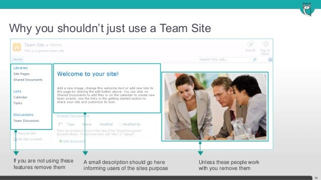 Why you shouldn't just use a Team Site36Unless these people workwith you remove themIf you are not using thesefeatures rem...