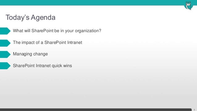 Today's Agenda5• What will SharePoint be in your organization?• The impact of a SharePoint Intranet• Managing change• Shar...