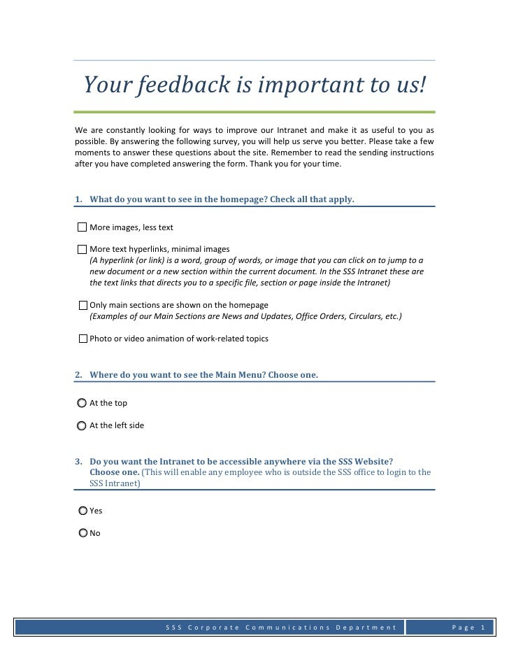 Your feedback is important to us!  We  are  constantly  looking  for  ways  to  improve  our  Intranet  and  make  it  as ...