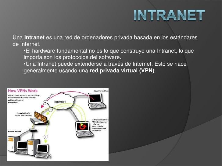 Intranet<br />Una Intranet es una red de ordenadores privada basada en los estándares de Internet.<br /><ul><li>El hardwar...