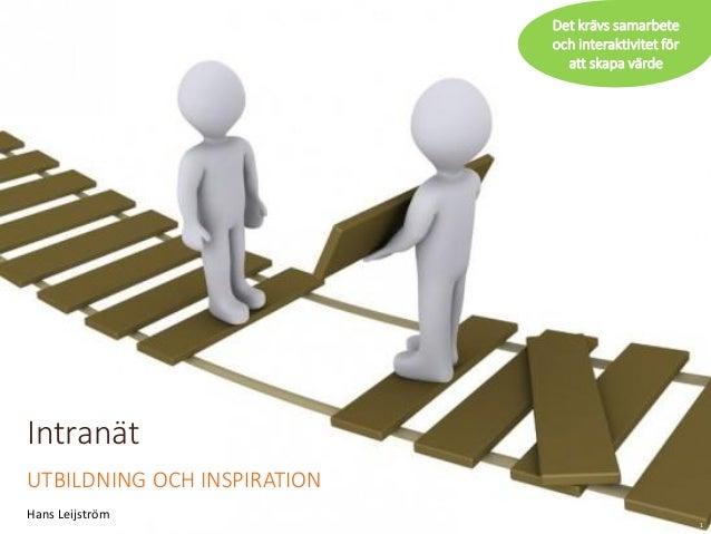 Intranät  UTBILDNING OCH INSPIRATION  Hans Leijström  1  Det krävs samarbete och interaktivitet för att skapa värde
