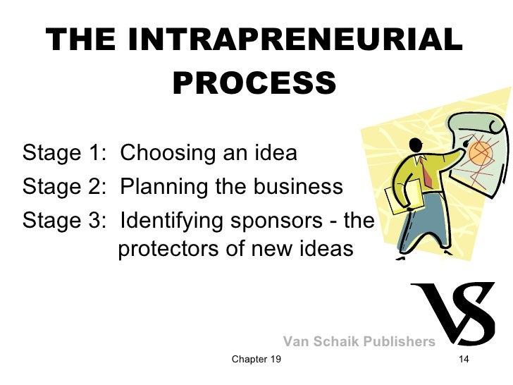 THE INTRAPRENEURIAL PROCESS <ul><li>Stage 1:  Choosing an idea </li></ul><ul><li>Stage 2:  Planning the business </li></ul...